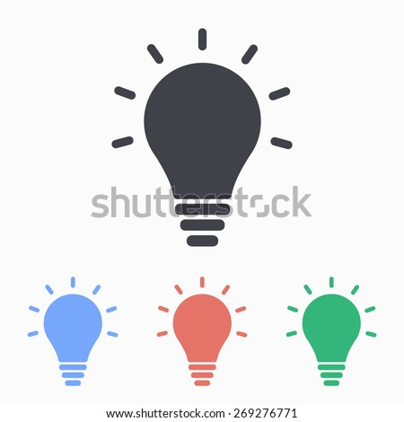 Lightbulb icon, vector illustration.
