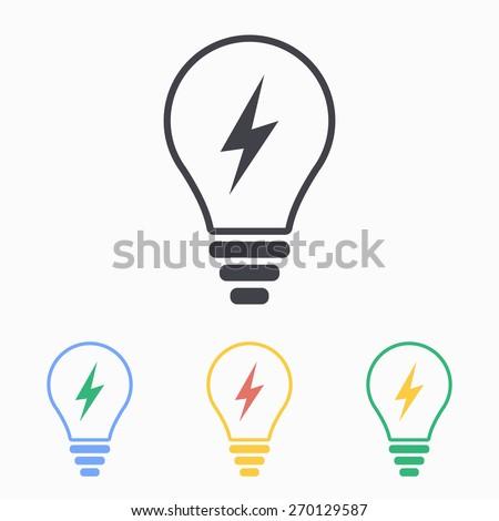 Lightbulb icon, vector illustration.