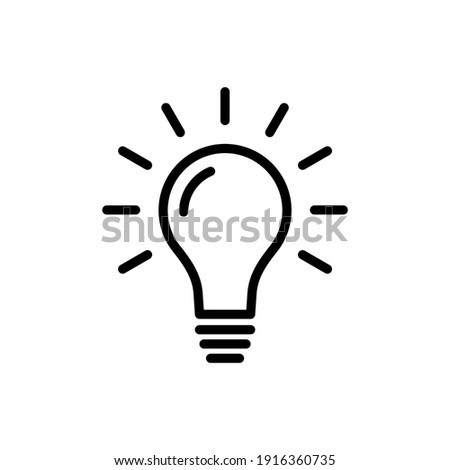 Lightbulb icon vector. Outline bulb, creative ideas, solution icon symbol design