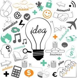 Lightbulb ideas concept, business, brainstorm, innovation, think