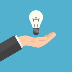 Lightbulb in hand businessman isolated on blue background. Inspiration, discovery, care, idea and insight concept. Flat design. Vector illustration. EPS 8, no transparency