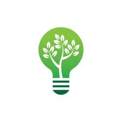 lightbulb logo design template with the concept of leaves and trees inside, light bulb logo design