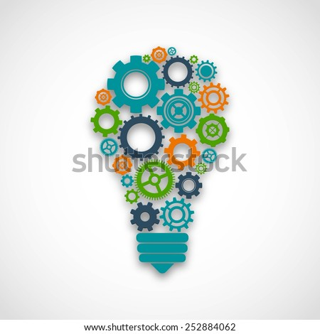 Lightbulb made of colored cog wheels abstract teamwork mind cooperation concept vector illustration