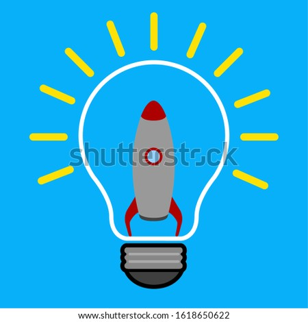 Lightbulb on a colored background. Idea lightbulb concept - Vector