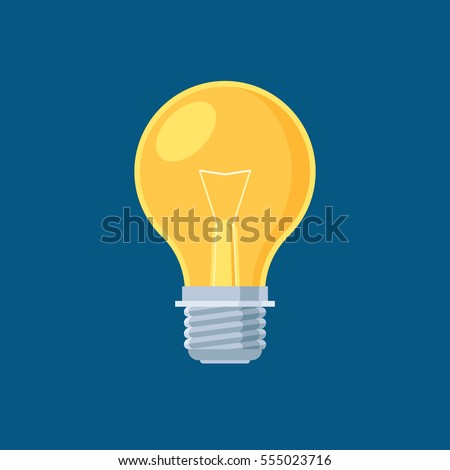 Lightbulb on dark blue background. Lamp sign. Concept icon creative idea. Vector illustration flat style