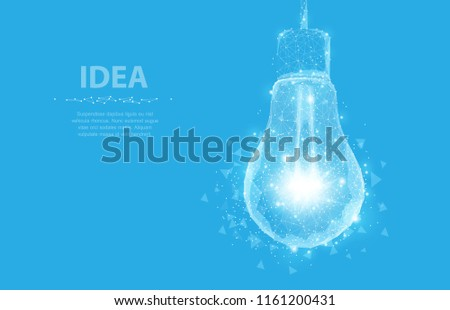 Lightbulb. Polygonal mesh art with crumbled edge on blue night sky with dots, stars and looks like constellation. Idea, electricity, innovation or other concept illustration or background