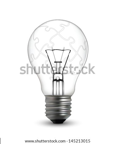Lightbulb puzzle concept in ecitable vector format #145213015