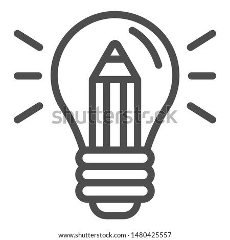 Lightbulb with pencil line icon. Creative idea vector illustration isolated on white. Creativity outline style design, designed for web and app. Eps 10