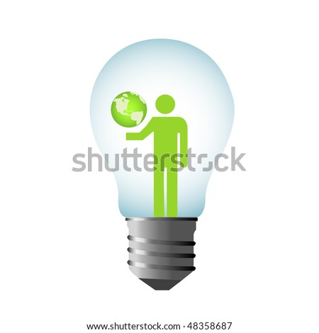 lightbulb with world held in the hand of man