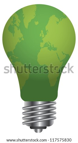 Lightbulb with World Map Go Green Illustration Isolated on White Background Vector