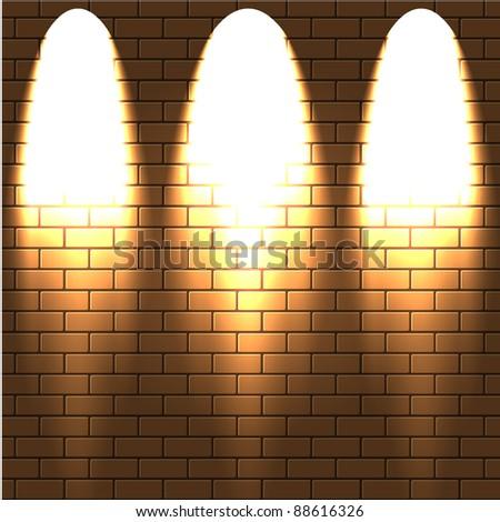 lighted a brick wall. Vector illustration.Best choice