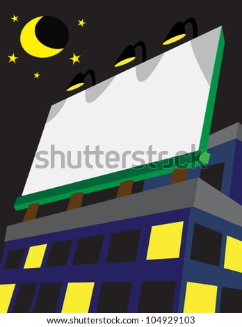 Lighted billboard at night, can be used to put announcements, notifications, or advertisements.