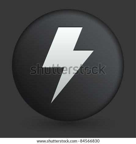 Lightening Icon on Round Black Button Collection Original Illustration - stock vector