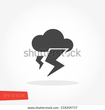 Lightening Isolated Flat Web Mobile Icon / Vector / Sign / Symbol / Button / Element / Silhouette