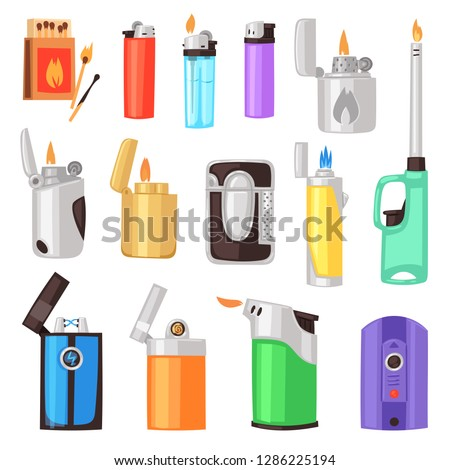 Lighter vector cigarette-lighter with fire or flame light to burn cigarette illustration set of flammable smoking equipment isolated on white background ストックフォト ©