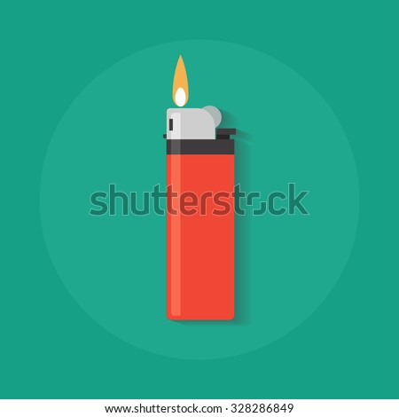 Lighter vector icon in flat style. Manual, gas lighter with a burning flame in flat style.  ストックフォト ©
