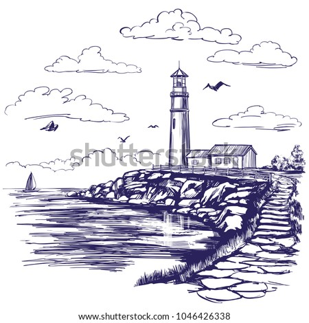lighthouse and sea landscape...