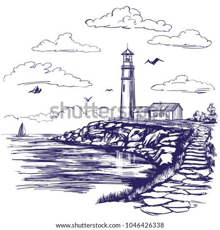 lighthouse and sea landscape...