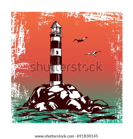 lighthouse and sea landscape hand drawn vector illustration sketch #691830145