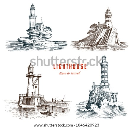 lighthouse and sea. marine...