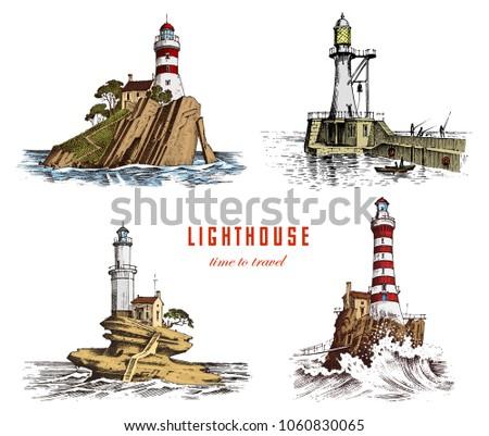 lighthouse and sea. marine...
