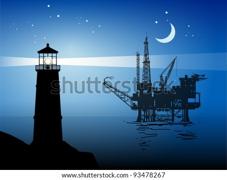 Lighthouse and Sea Oil Rig Drilling Platform, vector illustration