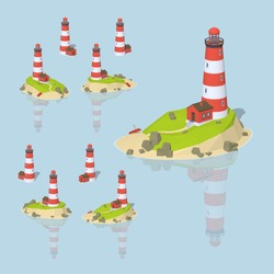 Lighthouse. 3D lowpoly isometric vector illustration. The set of objects isolated against the light-blue background and shown from different sides