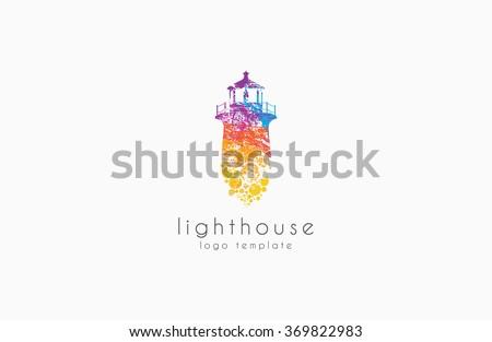 Lighthouse design. rainbow lighthouse. Lighthouse logo.