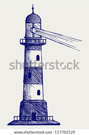 Lighthouse. Doodle style