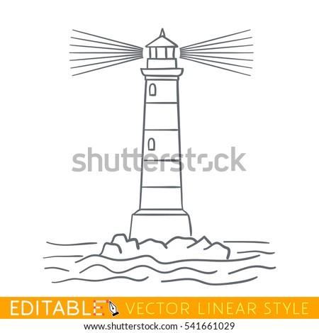 Lighthouse. Editable outline sketch. Stock vector illustration.