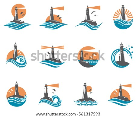 lighthouse icon set with ocean