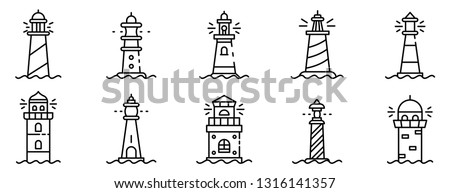 lighthouse icons set outline