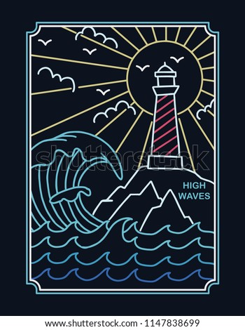 Lighthouse in neon style. Vector illustration for t-shirt prints, posters and other uses.