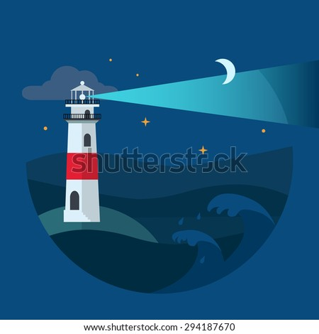 Lighthouse in night sea. Flat Vector illustration.