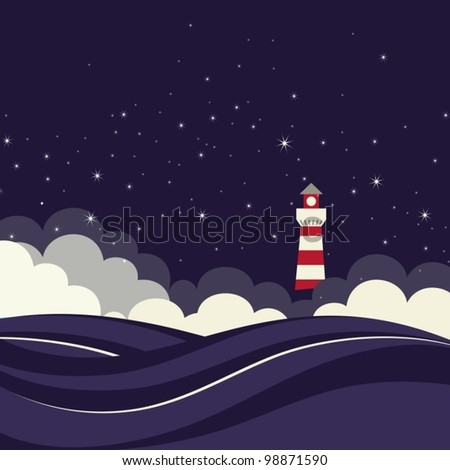 Lighthouse in night sea. Vector illustration. - stock vector