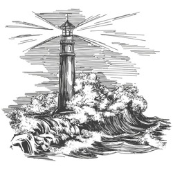 lighthouse in the dark and sea landscape, lighthouse in the storm hand drawn vector illustration realistic sketch