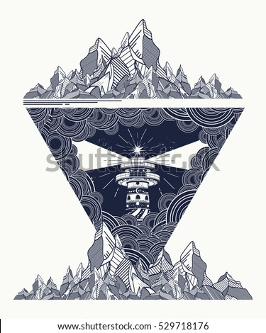 Lighthouse in the storm tattoo art, Lighthouse mountains geometric style tattoo, t-shirt design. Lighthouse marine tattoo, symbol of meditation, hiking, adventures.