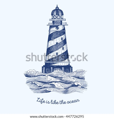 lighthouse in the wave  vector...