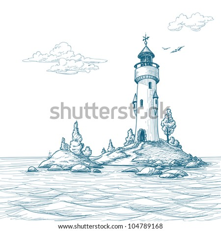Stock Photo Lighthouse island in the sea sketch