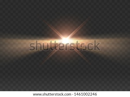 Lighthouse light effect isolated on transparent background. Realistic glow projector, headlight, spotlight, stage ray. Vector bright lighthouse or beacon lights at night.
