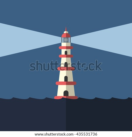 lighthouse lighting way in dark