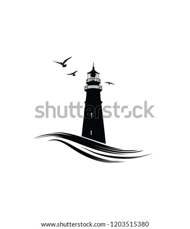 Lighthouse logo. Nautical icon with lighthouse with ocean waves and gull birds. Label design
