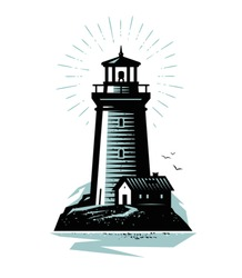 Lighthouse logo or label. Marine concept. Vector illustration