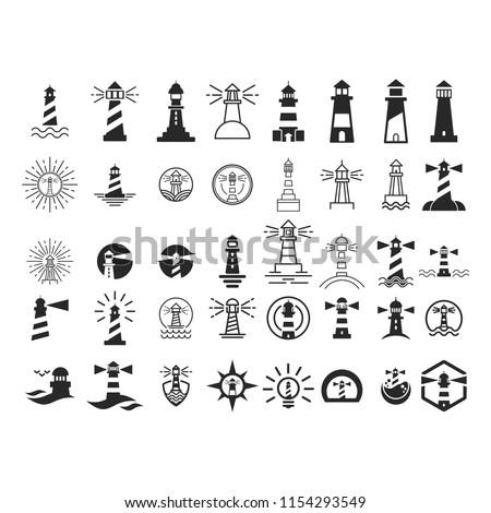 Lighthouse logo. Tower icon. Marine symbol. Vector eps 08.