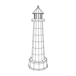 Lighthouse. Navigation Beacon building. Wireframe low poly mesh vector illustration.
