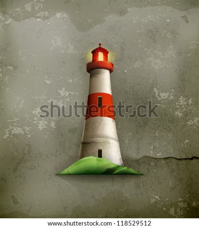 Lighthouse, old-style vector