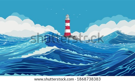 Lighthouse on a stone bank in a harsh ocean. Wavy and beautiful sea. The Pacific Ocean is raging. Large and strong blue waves. Raging Ocean Waves in the Blue Sea. Illustration, EPS 10