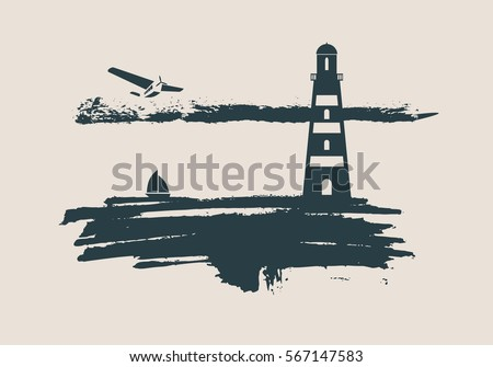 Lighthouse on brush stroke seashore. Clouds line with retro airplane and yacht icon. Vector illustration