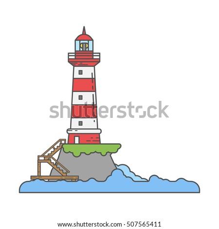 Lighthouse on island coast icon in line cartoon styles