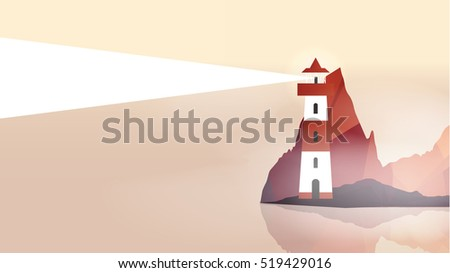 Lighthouse on Island with Navigation Light - Vector Illustration